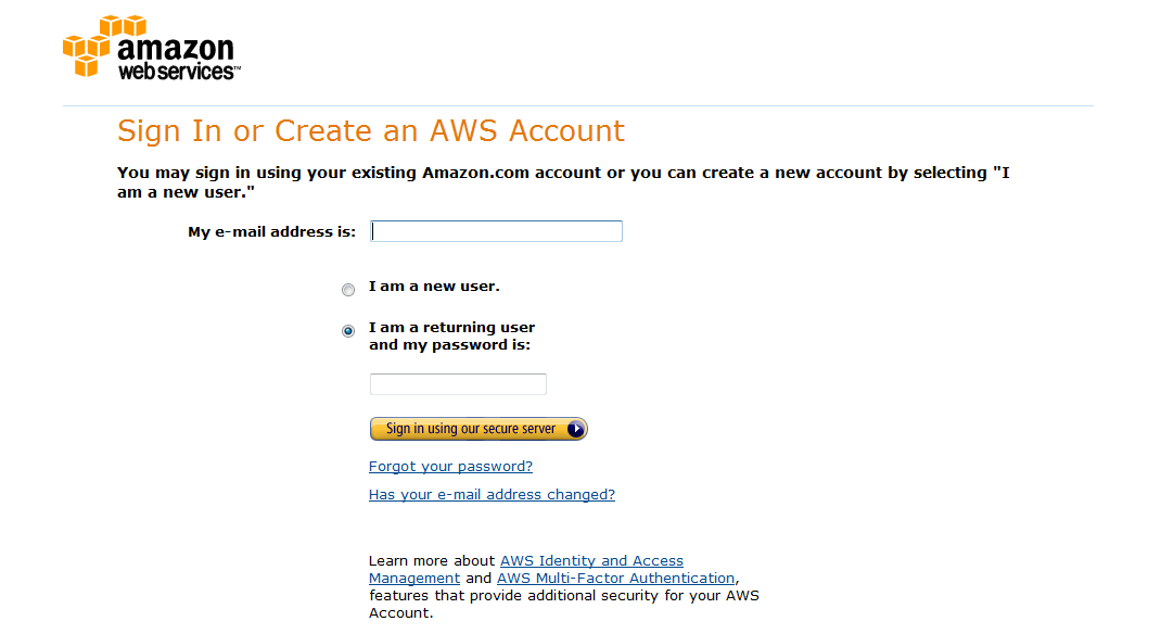 Amazon Web Services Sign in Window