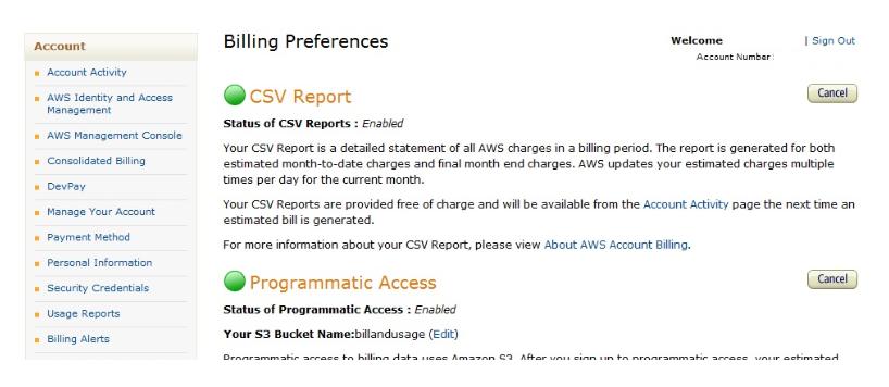 AWS Billing Preferences TAB