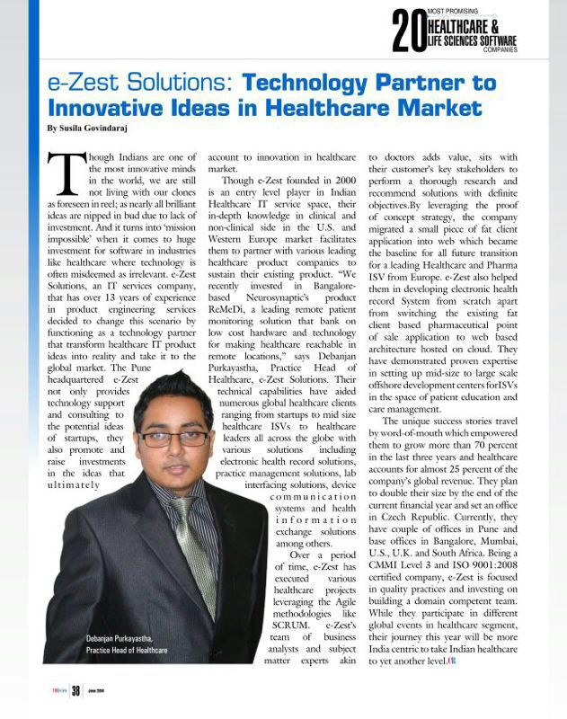 e-Zest featured in CIO Review 2014