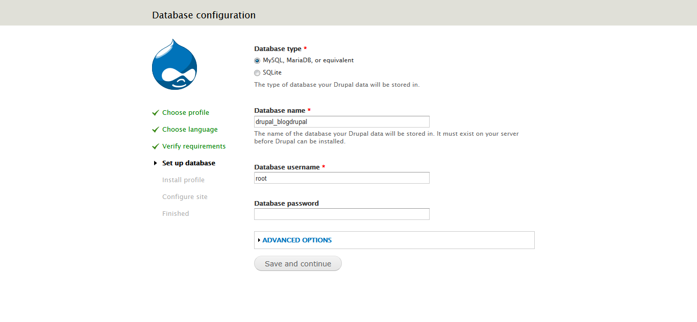 use SQLite database for Drupal