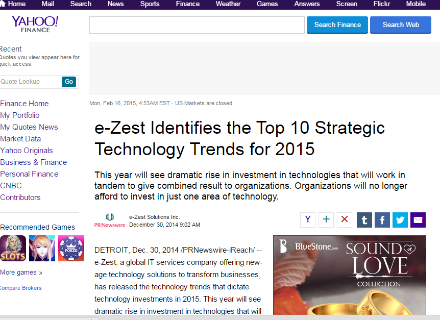 e-Zest featured in Yahoo!
