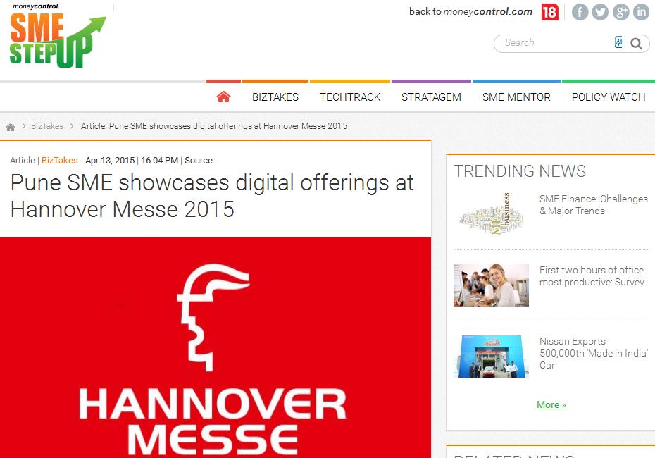 e-Zest featured on Moneycontrol