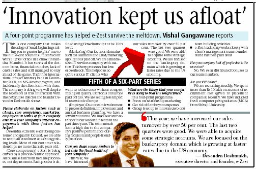 e-Zest featured in Pune Mirror (TOI) newspaper: 'Innovation kept us afloat'