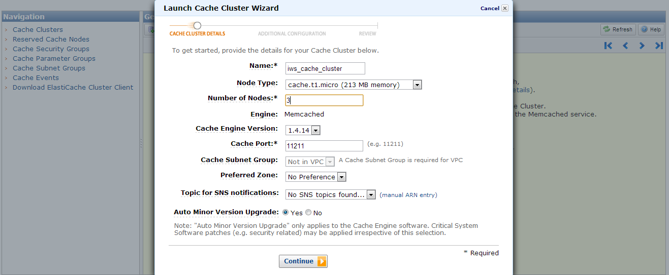 Launch Cache Cluster Wizard