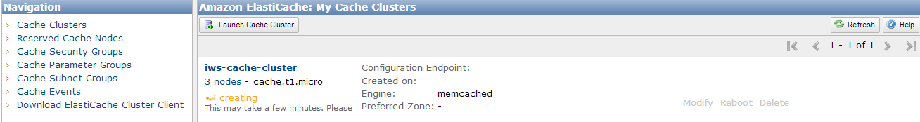 My Cache Clusters Panel