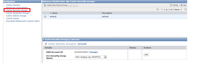 My Cache Security Groups