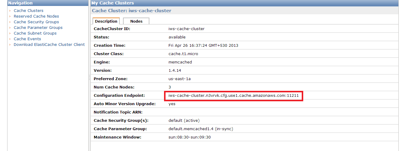 Cache Cluster in Available State