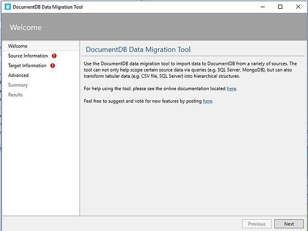 documentDB-data-migration-tool