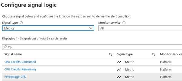 VM - Configure signal logic