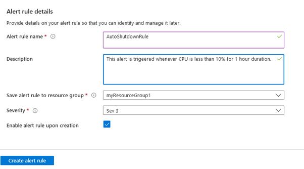 VM - alert rule details